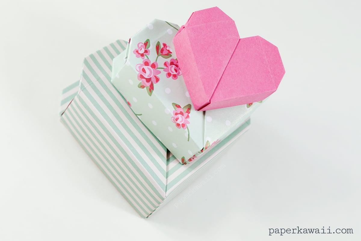 How to make a heart box (origami) | Caixa de origami, Trabalhos em ... | 800x1200