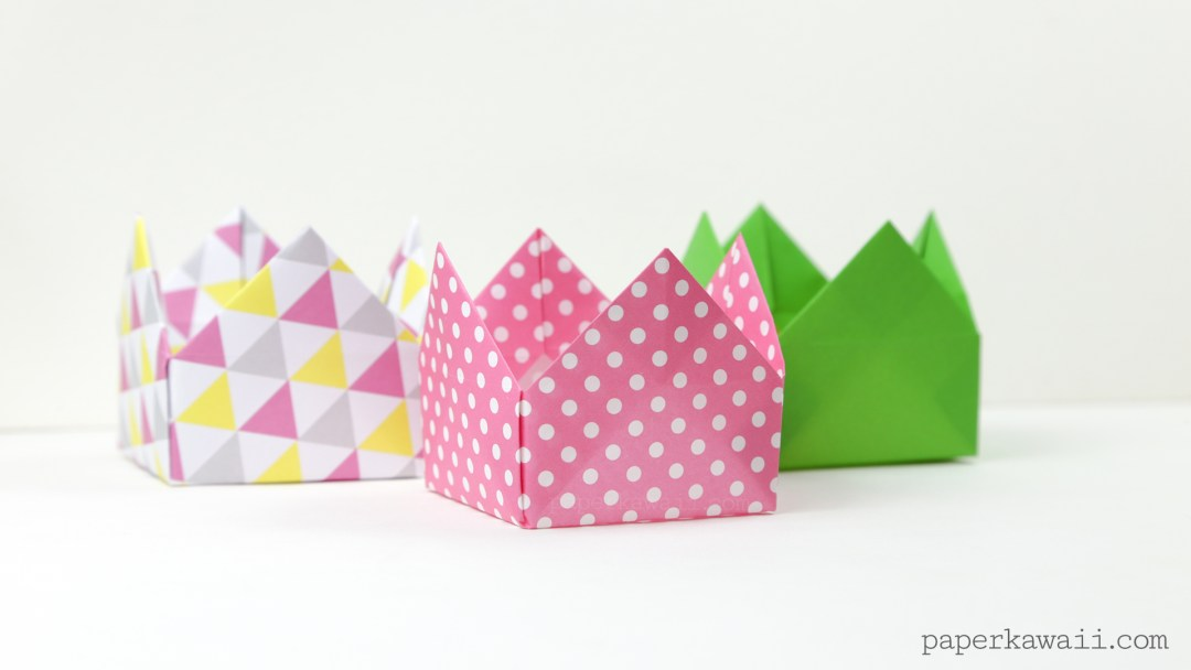 origami crown box or lid tutorial #origami #crafts #crown #party #diy