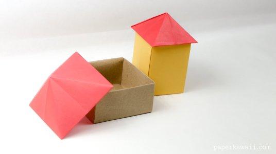 origami house box tutorial #origami #house #box #diy