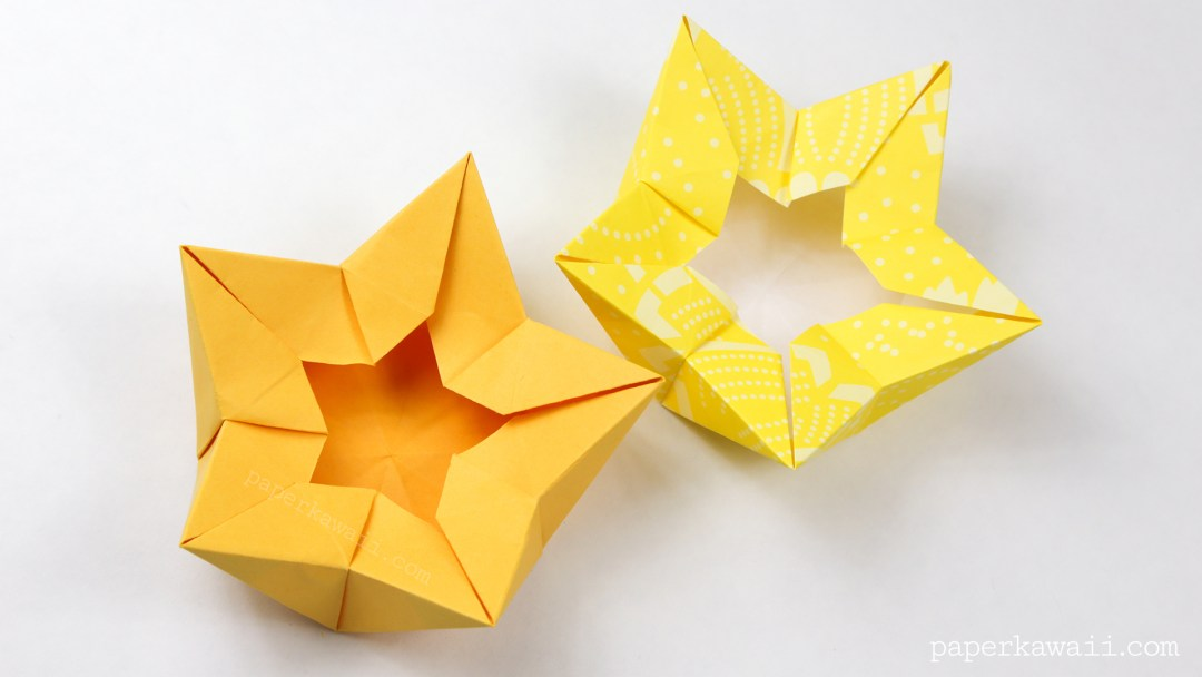 Origami Star / Flower / Crown Bowl Tutorial via @paper_kawaii