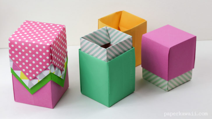Tall Origami Box Or Lid Instructions Crafts Diy