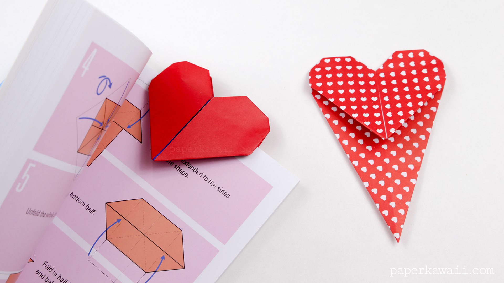 Origami Heart Bookmark Instructions Paper Kawaii