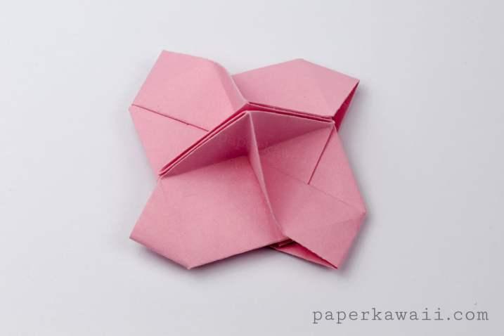 Pink origami card holder - Paper Kawaii