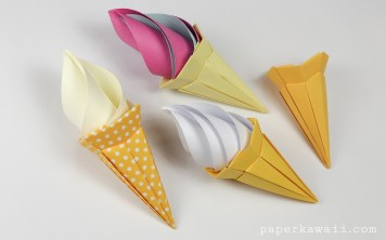 Origami Ice Cream Cone Instructions - Paper Kawaii