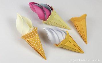 Origami Ice Cream Cone Instructions - Paper Kawaii