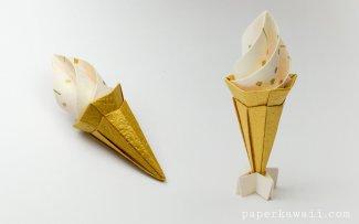 Origami Ice Cream Cone Instructions - Modular via @paper_kawaii