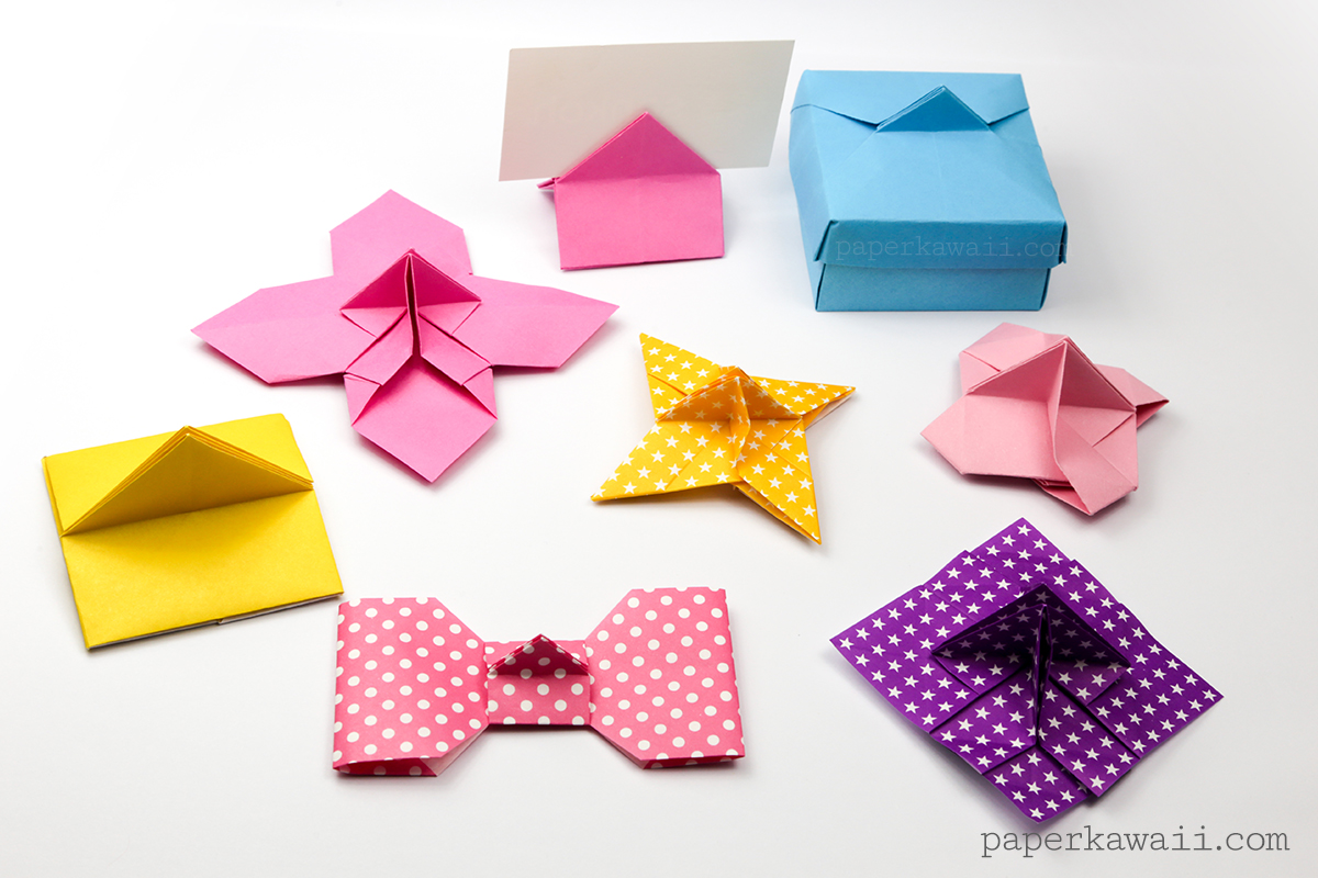 Origami flower card holder instructions paper kawaii in the photo above starting from the top left the flower shaped one house shape card holder box ninja star card holder the original one mightylinksfo