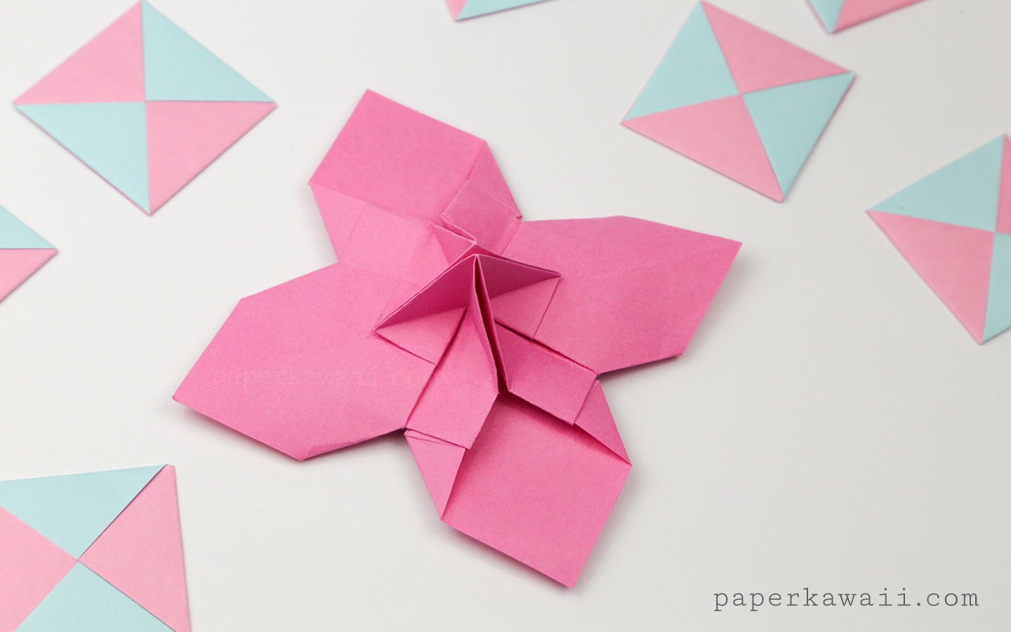 Origami Flower Card Holder Instructions Paper Kawaii