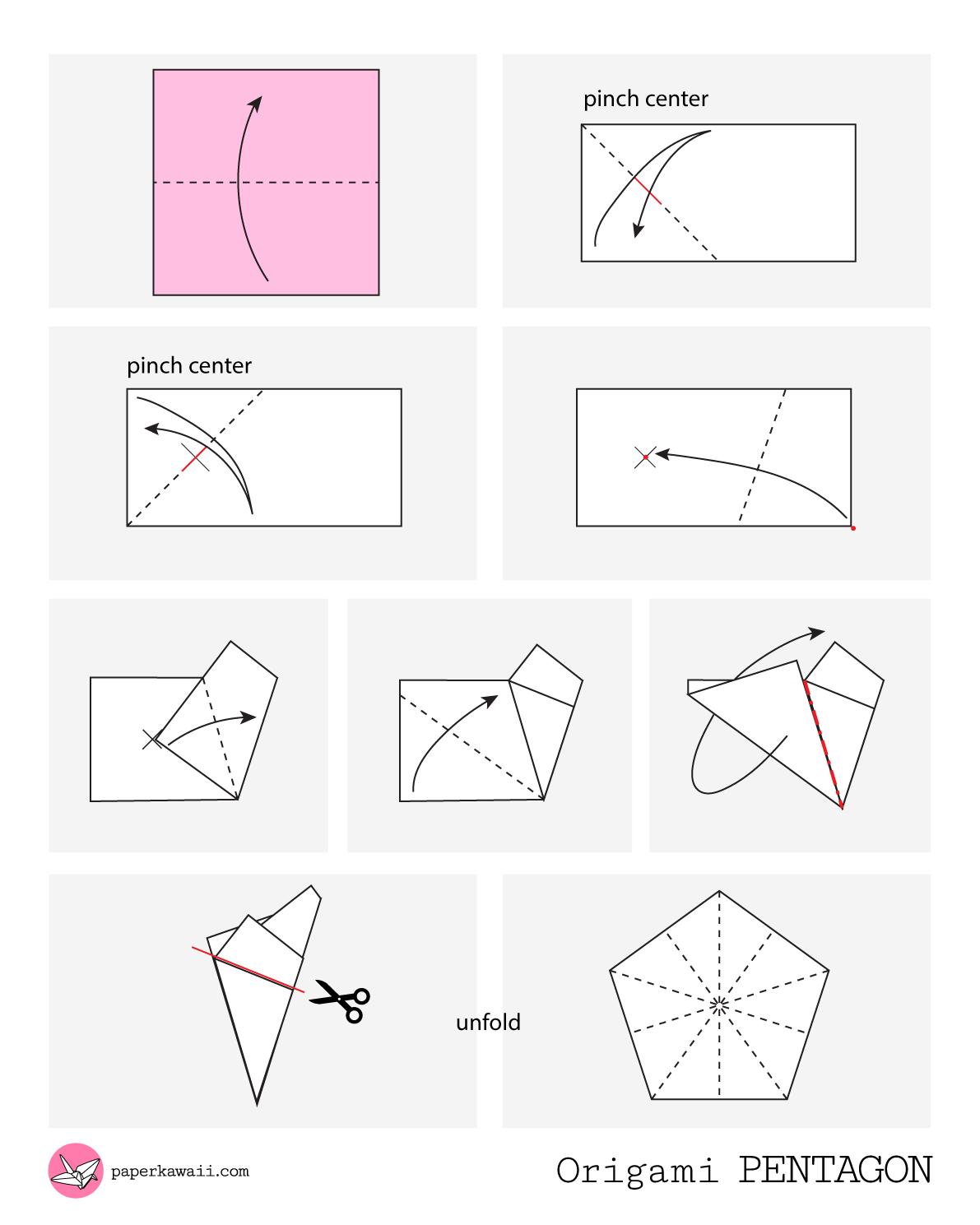 How to make an origami Pentagon - Diagram