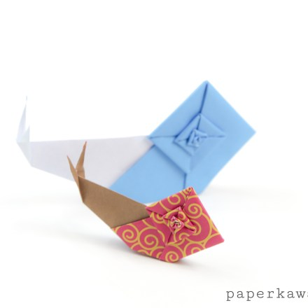 """Origami Snail Tutorial & Quick Overview of """"The Origami Garden"""" by Ioana Stoian via @paper_kawaii"""