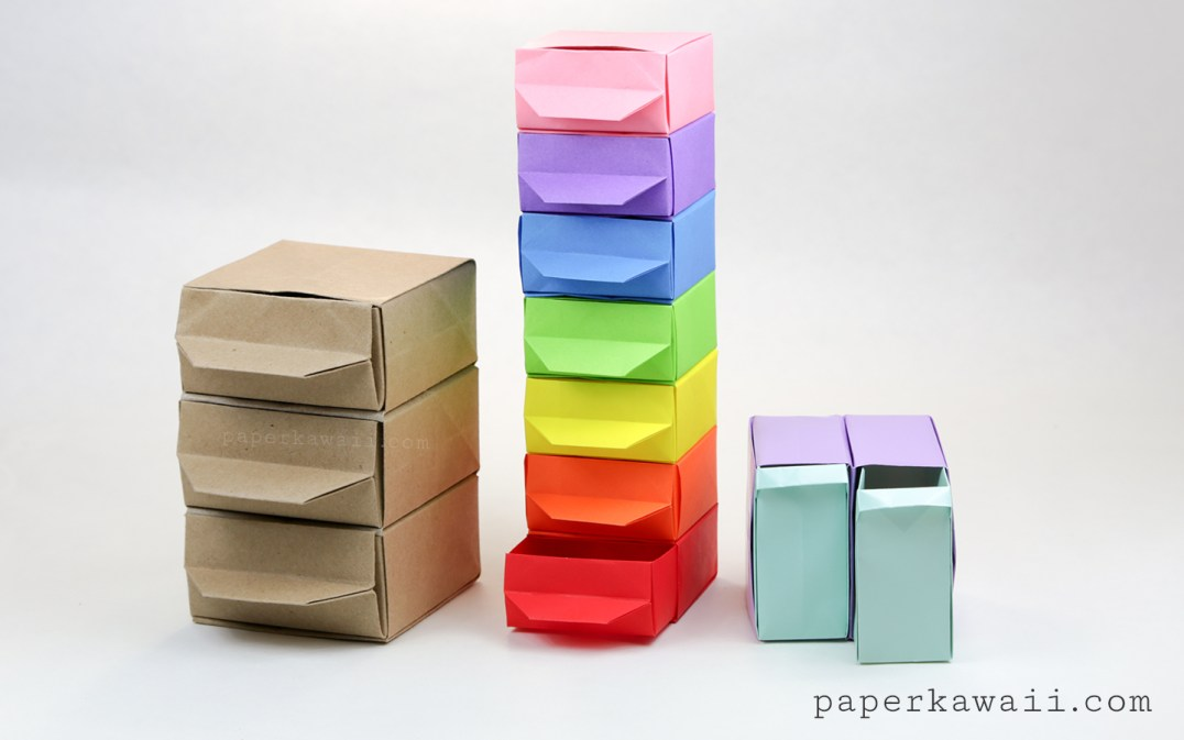 origami chest of drawers tutorial paper kawaii