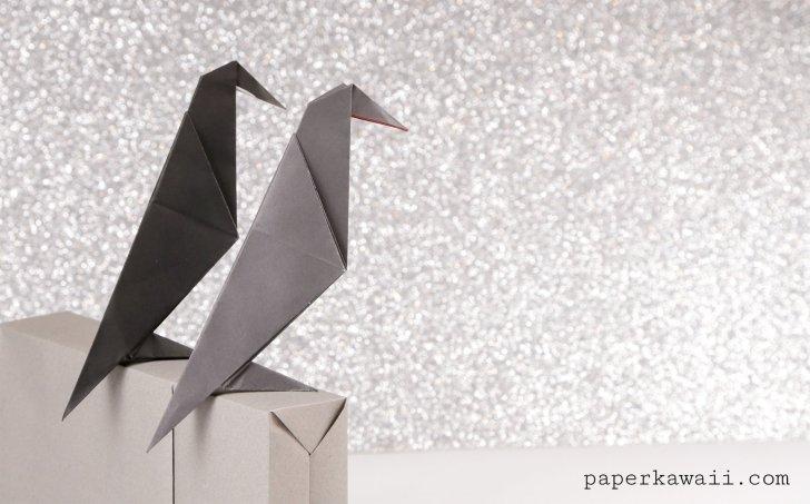 Easy Origami Crow Tutorial Video via @paper_kawaii