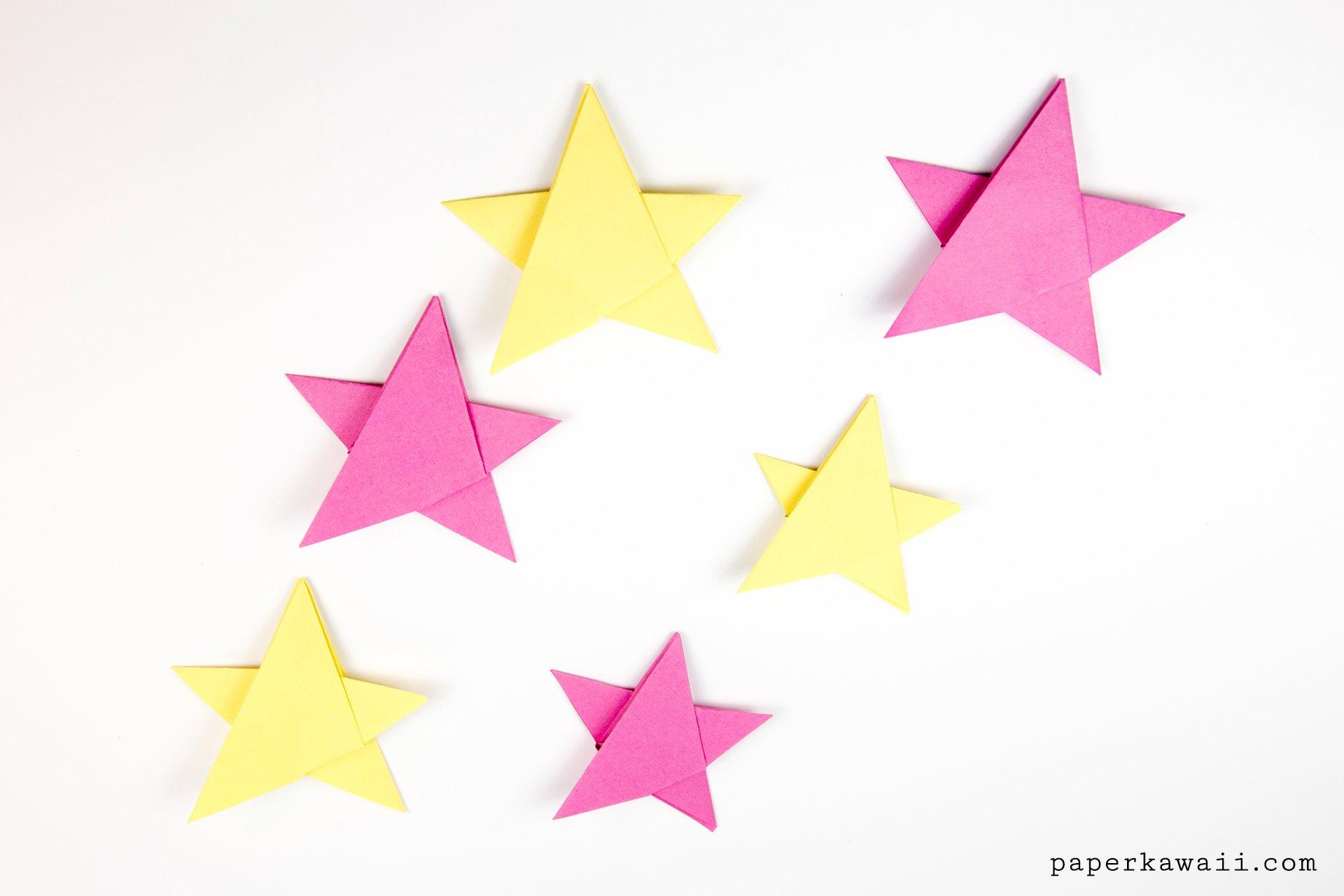 Simple Origami 5 Point Star Tutorial 1 Sheet Paper Kawaii