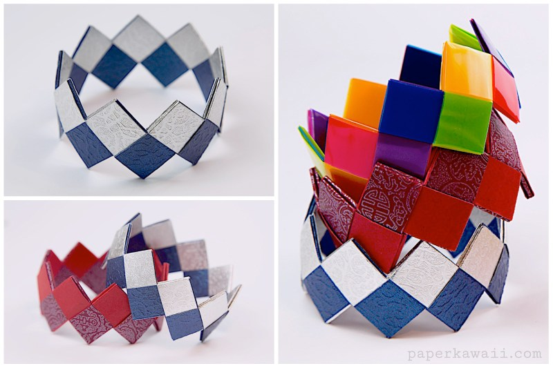 crafts for kids with paper, easy DIY craft ideas for kids, easy paper crafts for kids, DIY craft ideas Modular Origami Bracelet Tutorial - Easy & Pretty!