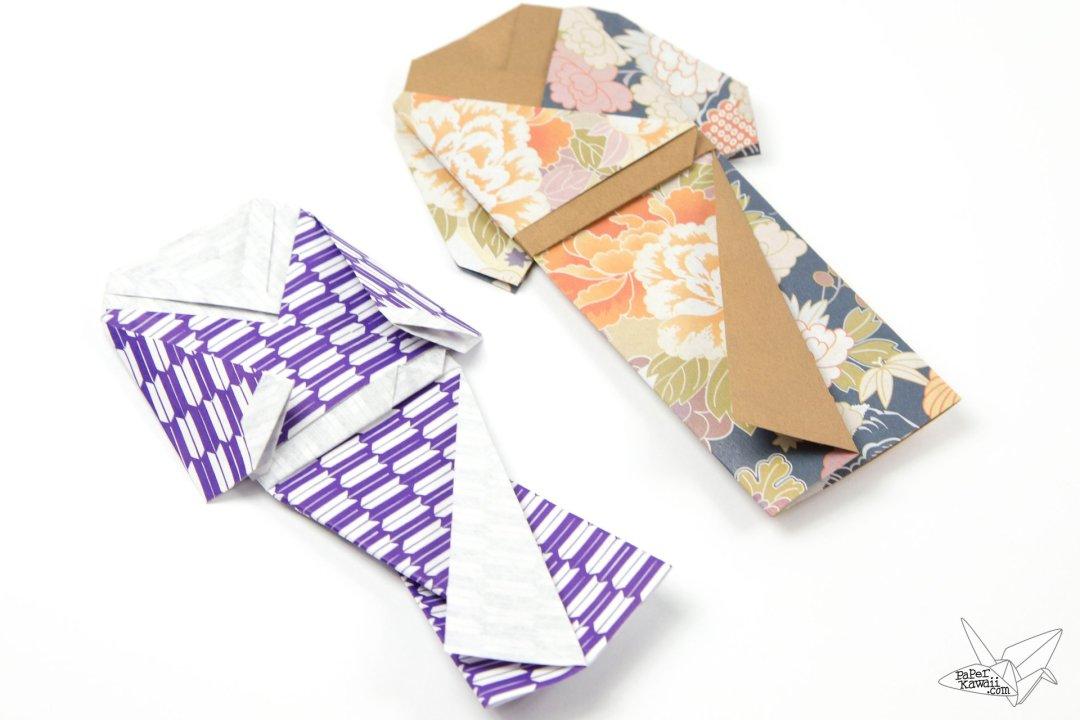 origami japanese doll in kimono dress tutorial paper kawaii