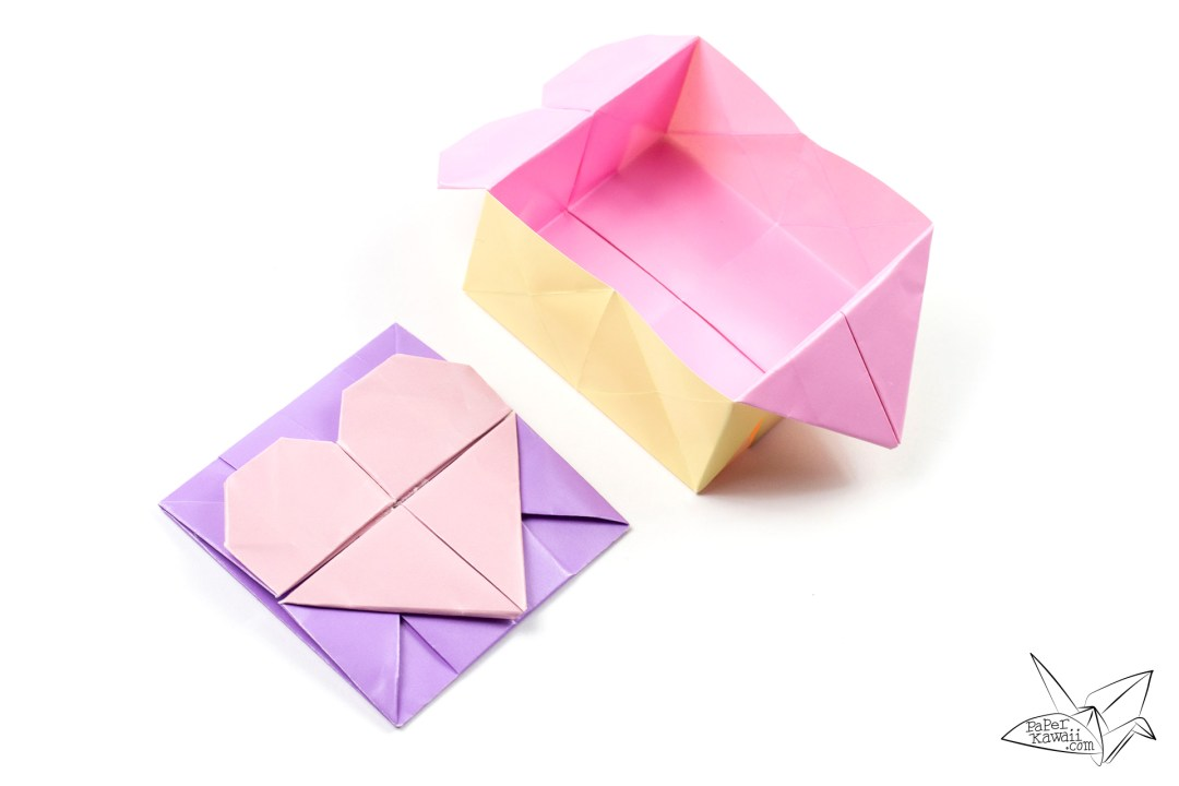 Origami Opening Heart Box / Envelope Tutorial via @paper_kawaii