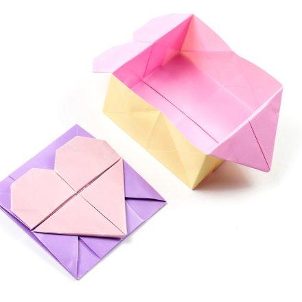 Origami Opening Heart Box / Envelope Tutorial - Francis Ow via @paper_kawaii