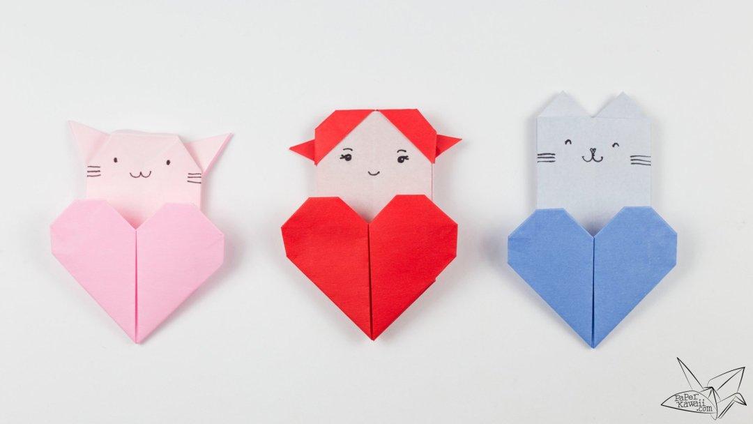 Origami Cat Heart Tutorial Origami Heart Pocket Paper Kawaii