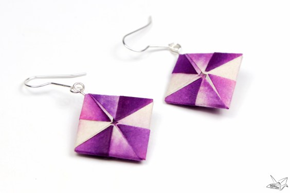 Origami Earrings Tutorial – Pinwheel Squares
