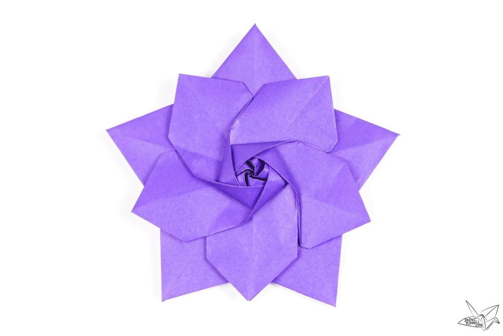 Origami Sakura Star Tutorial - Designed by Ali Bahmani via @paper_kawaii