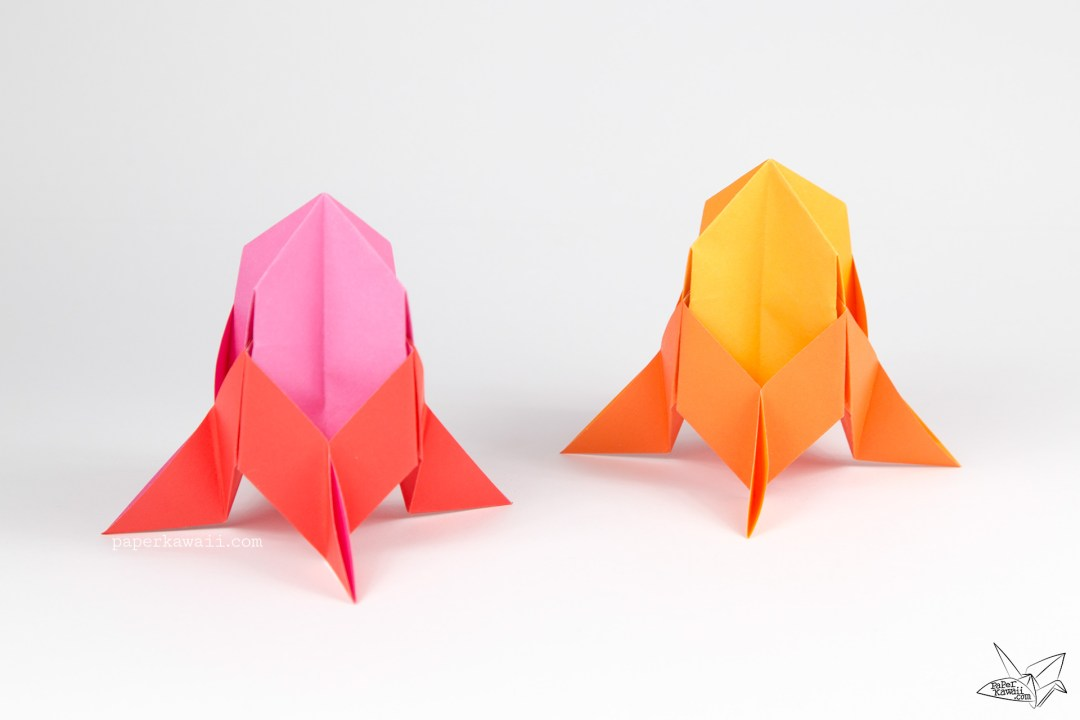 This Three Dimensional Origami Rocket Ship Is Easy Enough For Kids To Learn Great Hang Up As Decorations Or Make A Space Themed Display
