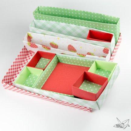 Origami Desk Organiser Tutorial - Nested Boxes via @paper_kawaii