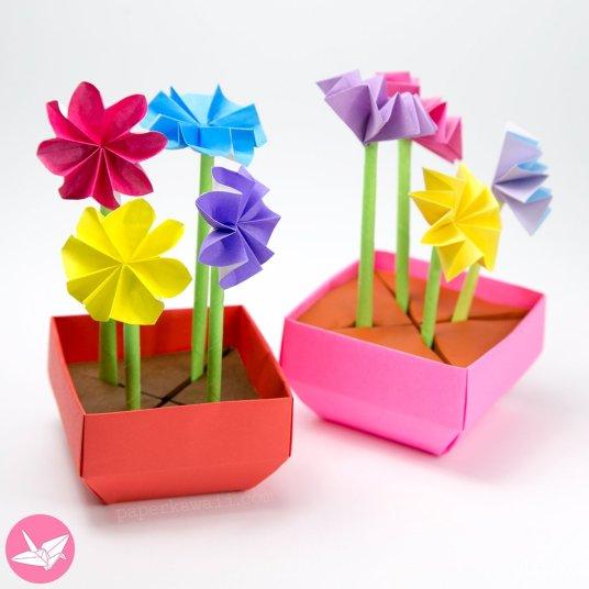 Origami Angled Base Box / Pot Tutorial via @paper_kawaii