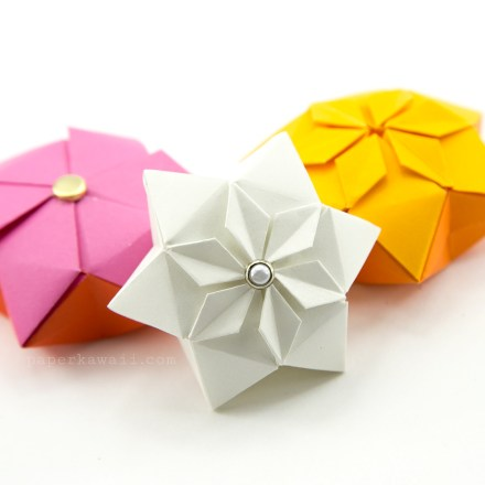 Origami Hexagonal Gift Box Tutorial via @paper_kawaii