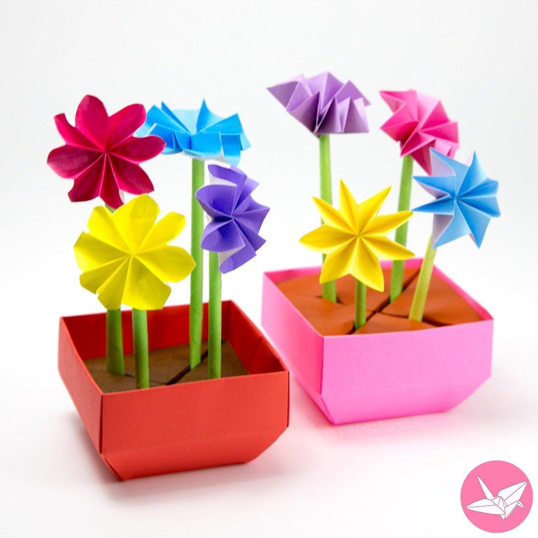 Origami flowerpot - crazzy crafting | 1080x1080
