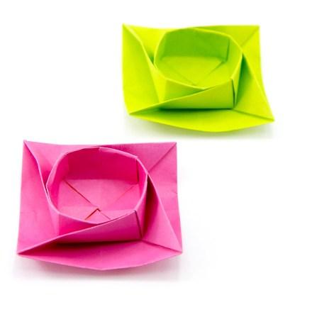Twisted Round Origami Box / Bowl Tutorial via @paper_kawaii