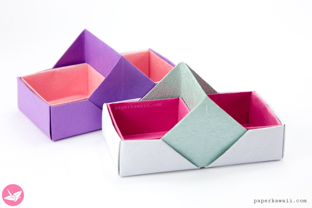 Two Sectioned Origami Tray / Box Tutorial - Paper Kawaii - photo#26