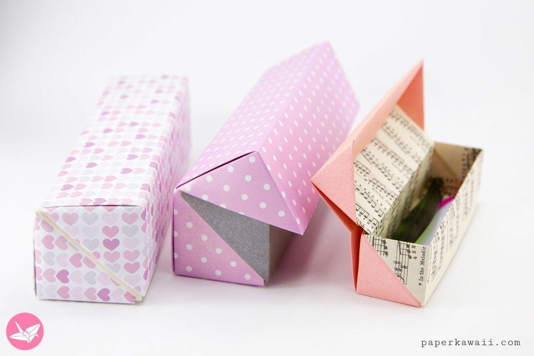 origami long hinged gift box tutorial pencil box paper