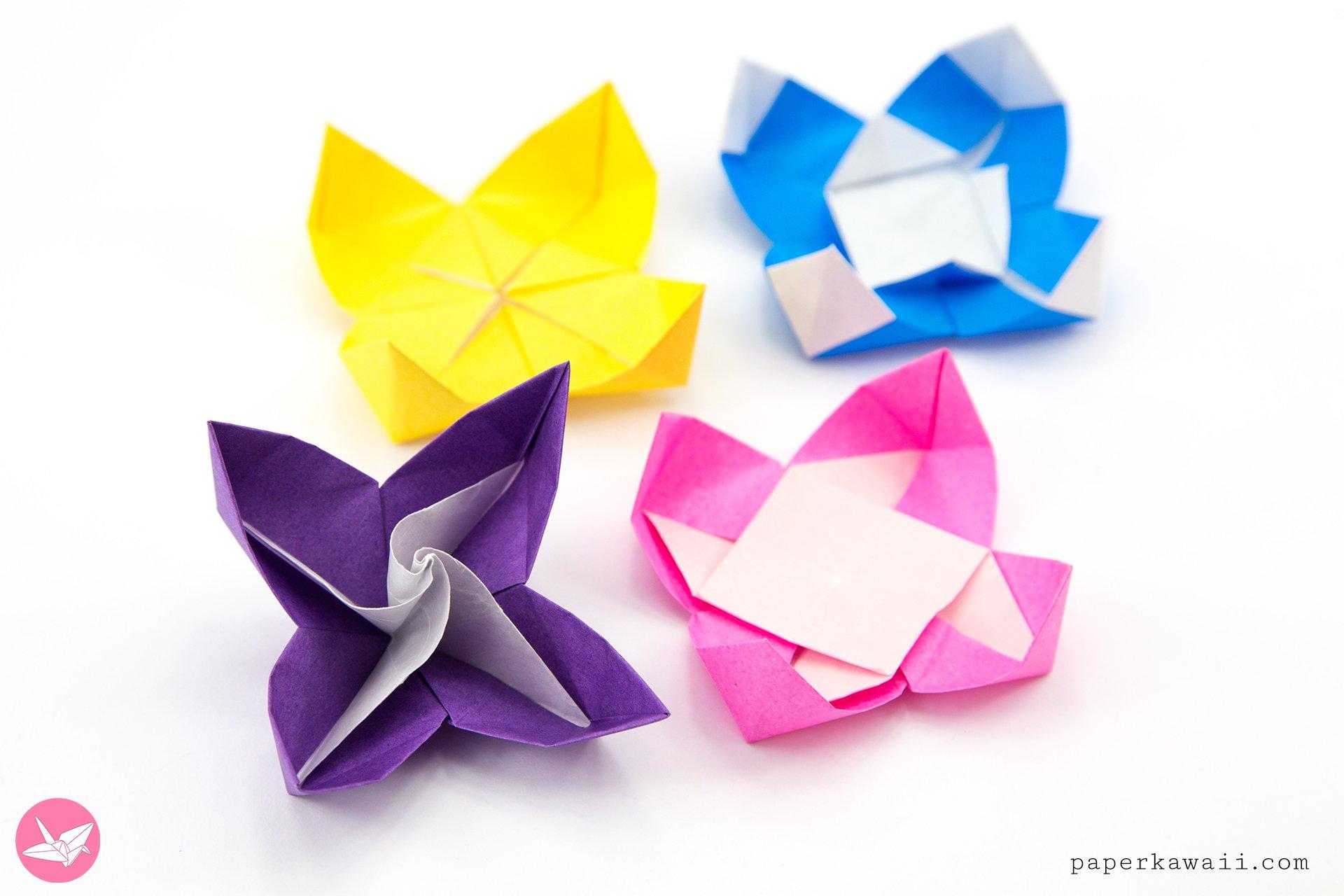 Origami Pinwheel Flowers Tutorial - Paper Kawaii - photo#2