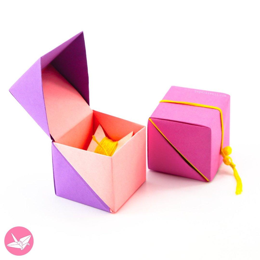 hinged origami box cube version tutorial paper kawaii