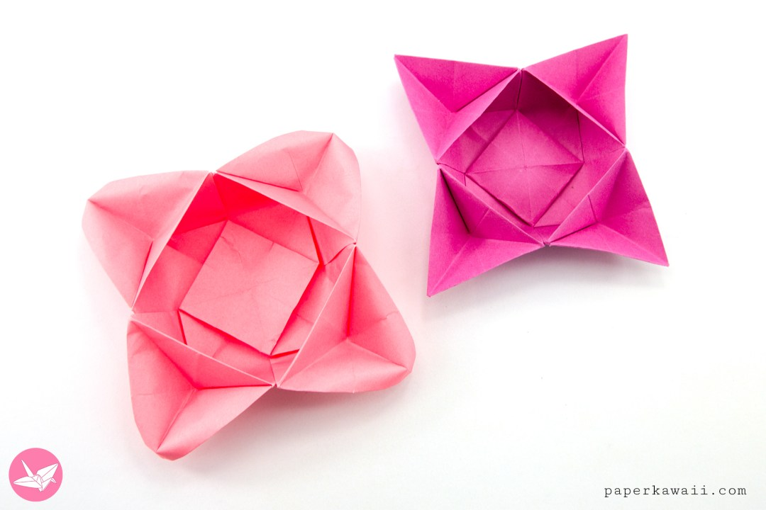 Origami star flower bowl box tutorial paper kawaii learn how to make an origami star flower bowl this origami boxs edges can look like a four point star or flower petals made from one sheet of square mightylinksfo Choice Image
