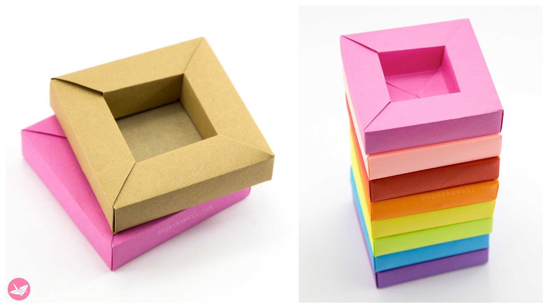 Origami Frame Box Tutorial Wide Rimmed Box Paper Kawaii