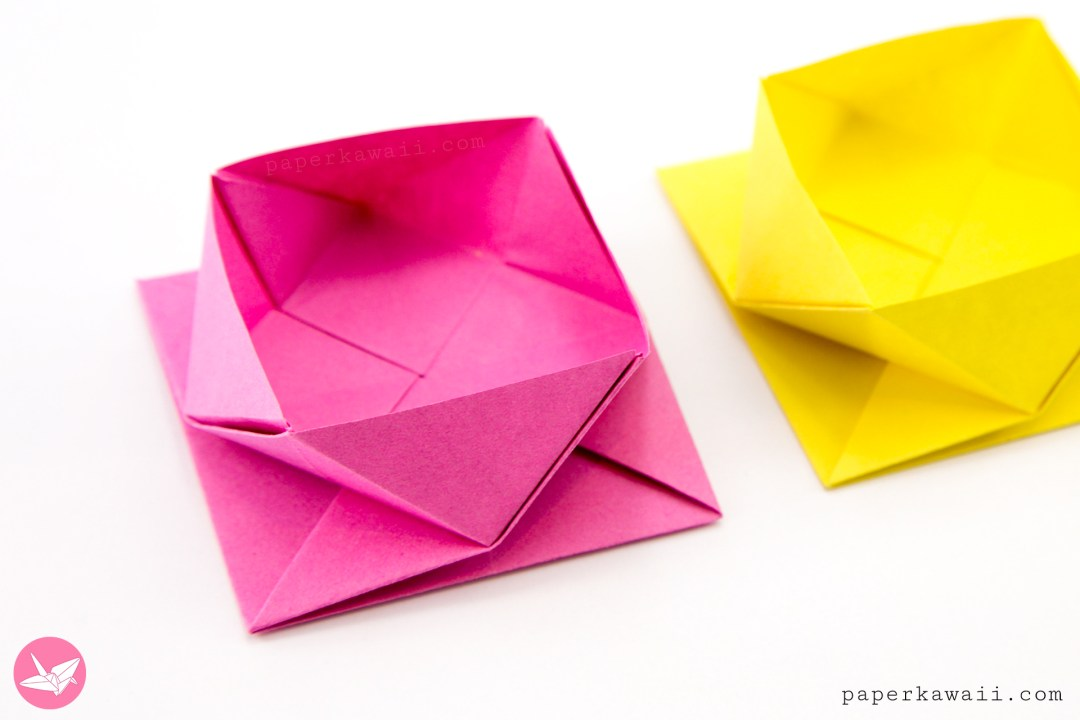 Learn How To Make A Pretty Origami Square Twist Box Pot Or Bowl This Container Has Flat Base And Is Easy With One Sheet Of Paper