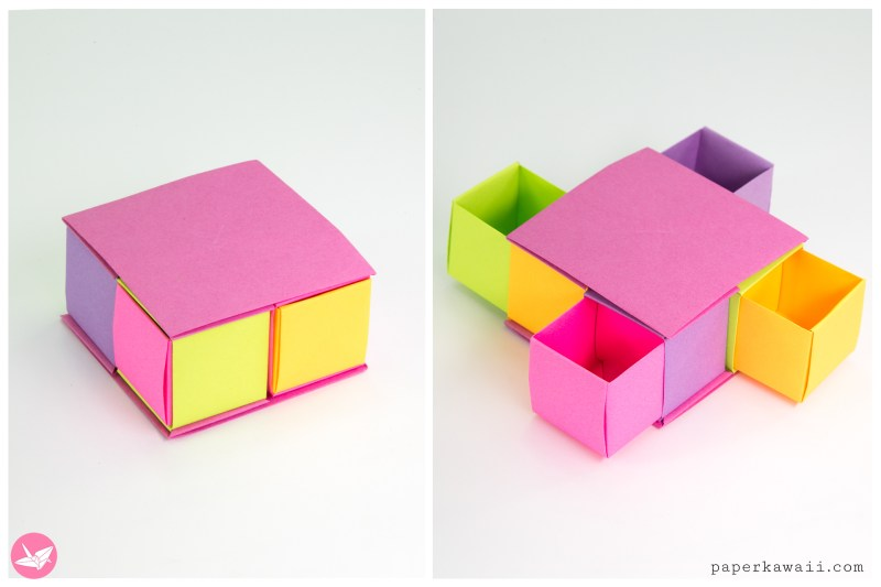 Origami Drawer Box Tutorial via @paper_kawaii