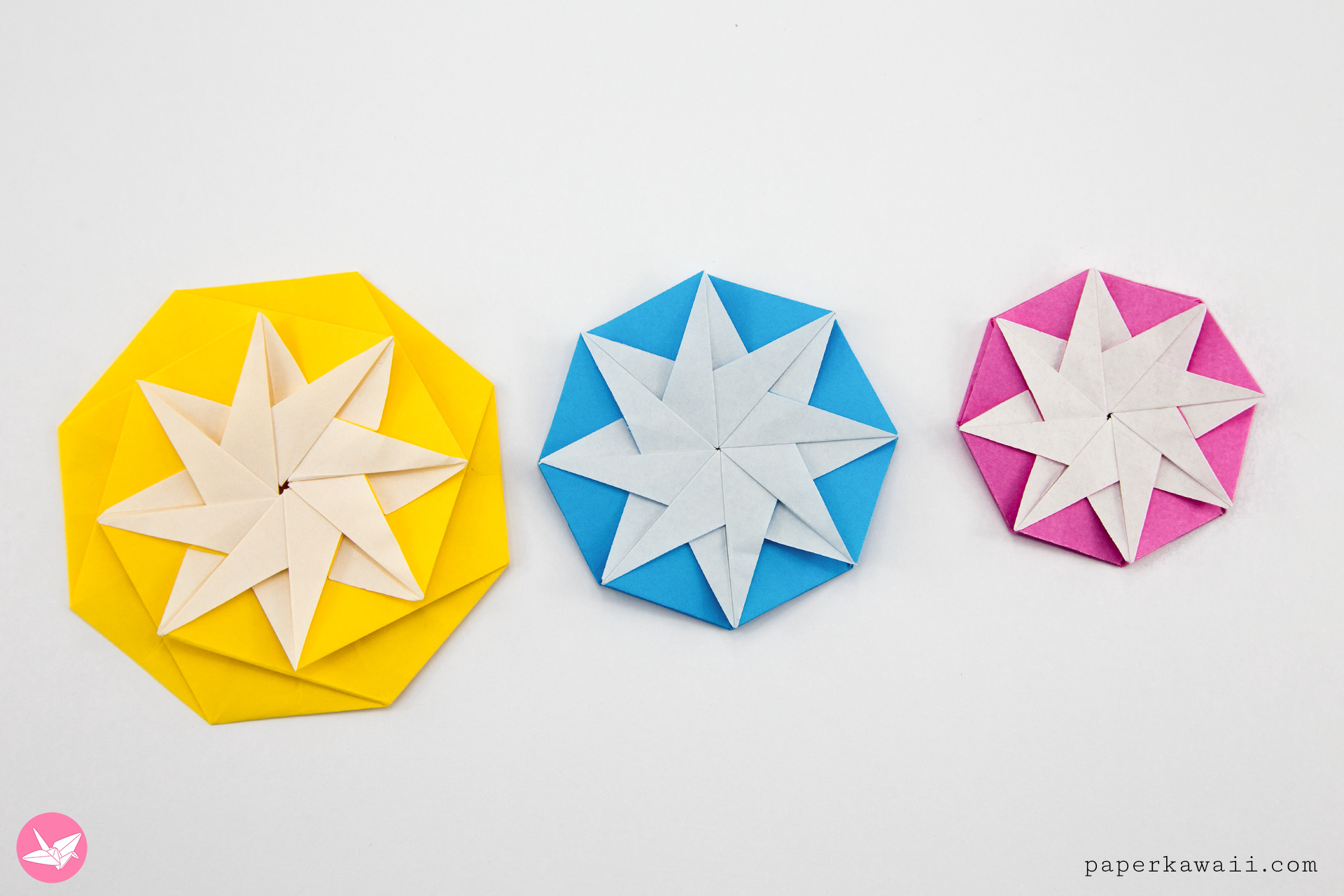 Origami Compass Star Tato Variation Tutorial - Paper Kawaii