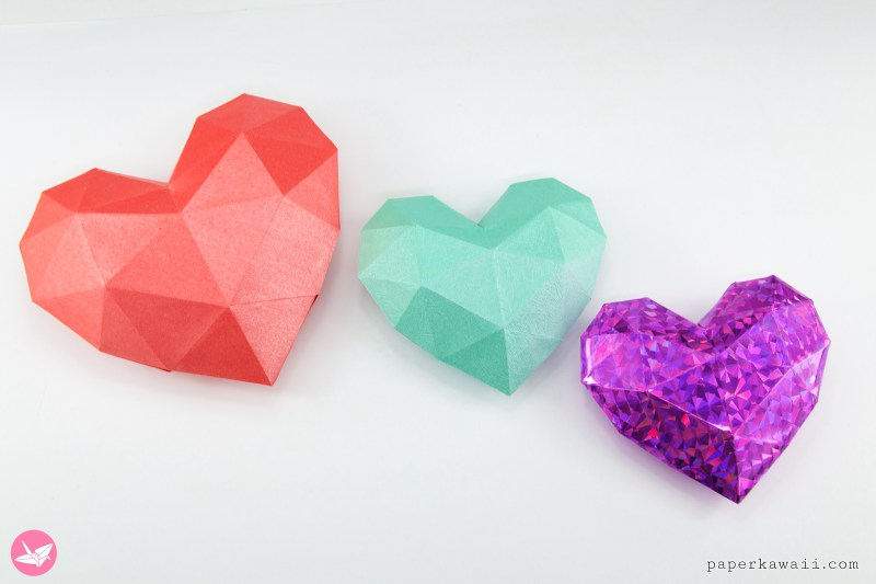 3d Paper Heart Tutorial Template Paper Kawaii