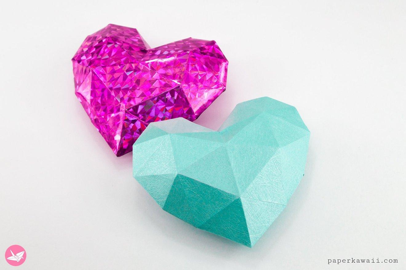 3D Paper Heart Tutorial & Free Template via @paper_kawaii