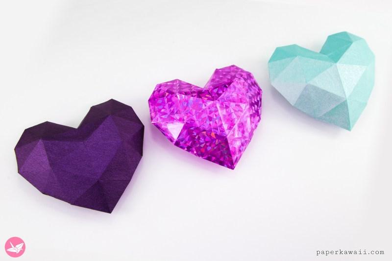 3D Paper Heart - Tutorial & Template via @paper_kawaii