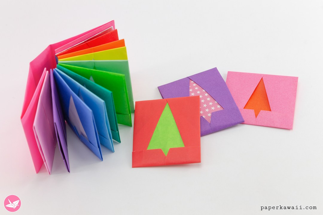 Origami Christmas Tree Envelope Tutorial - & Gift Book via @paper_kawaii