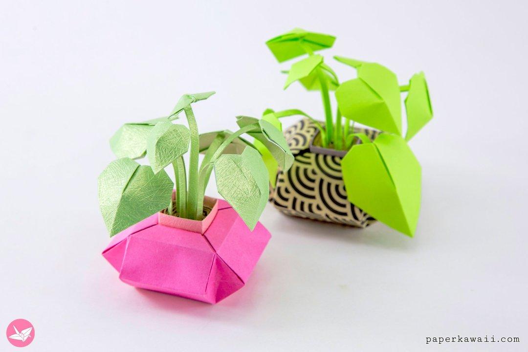 Mini Origami Pot Plants Tutorial - DIY Paper Houseplants via @paper_kawaii