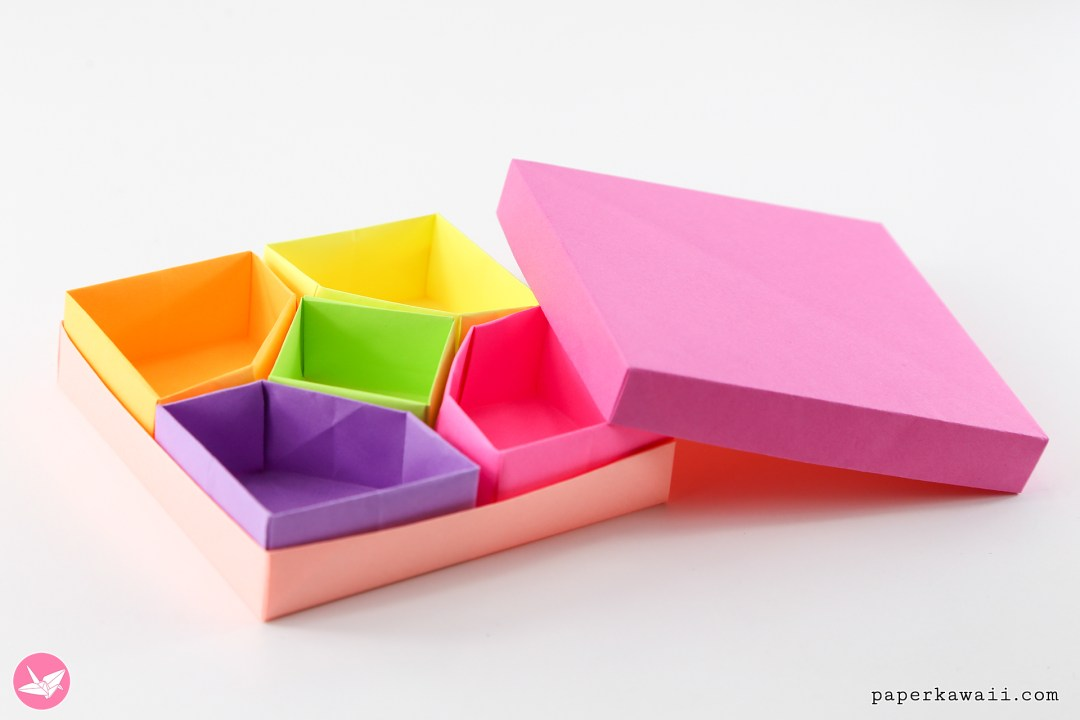Origami Diamond Divider Box Tutorial - 5 Sections via @paper_kawaii
