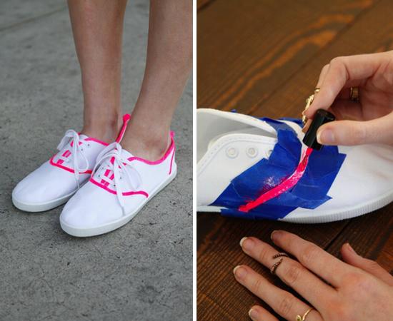 3 Painted Neon Nail Polish Shoes