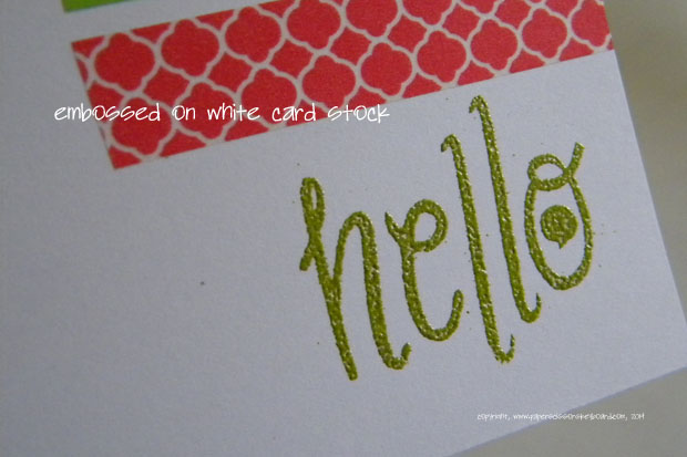 Ink with embossing powder on white card stock worked perfectly