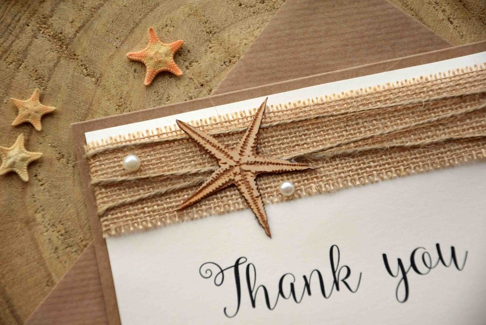 Folded Starfish Rustic Thank You Cards