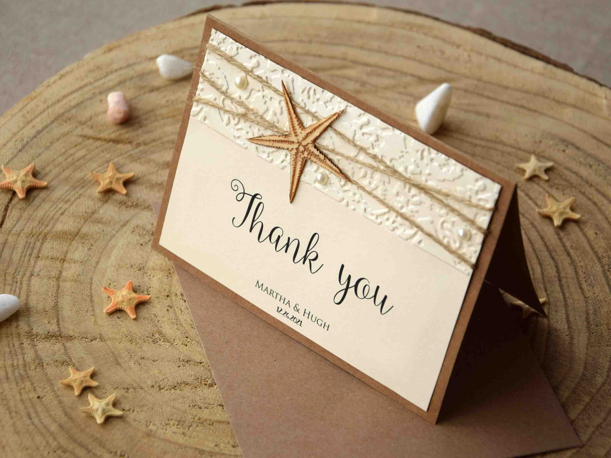 Rustic Beach Wedding Thank You Cards