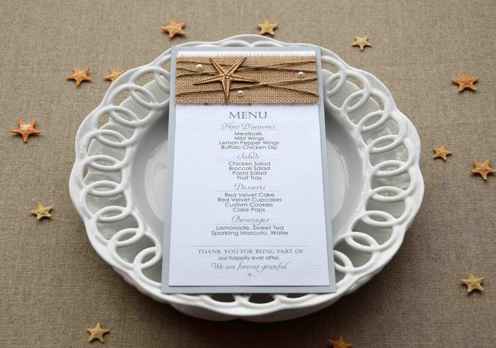 Rustic Beach Wedding Dinner Menu